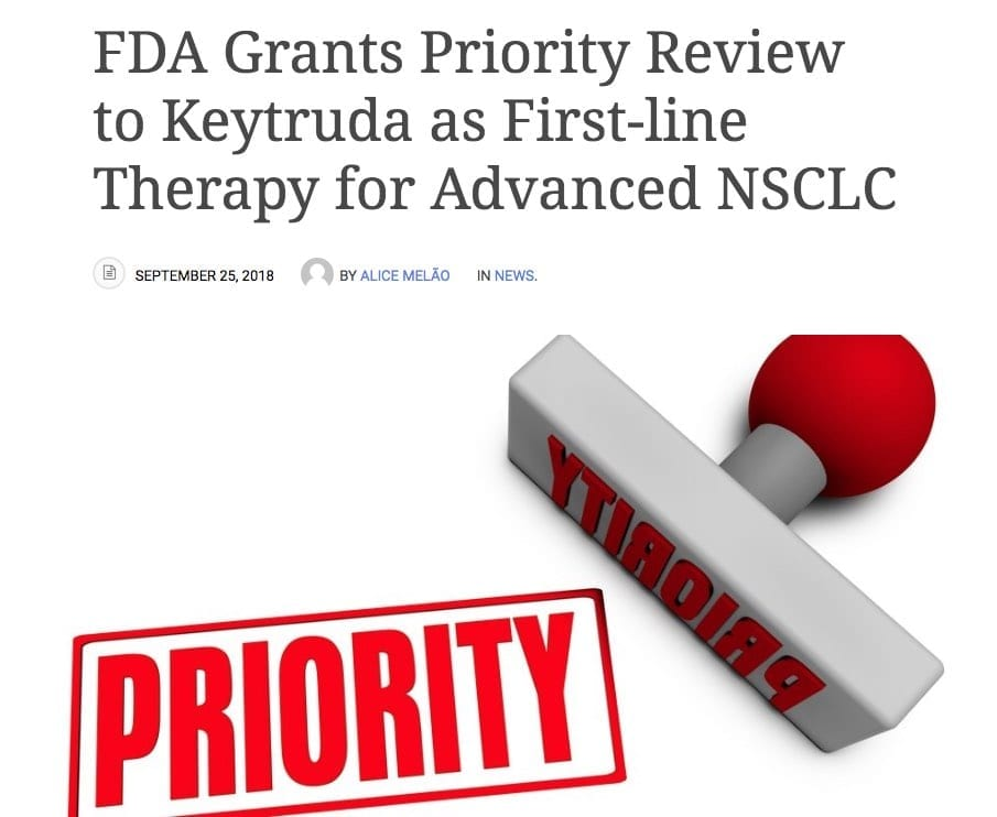 Cholangiocarcinoma - Keytruda as a first line treatment option ? The U.S. Food and Drug Administration (FDA) has agreed to review Merck's application seeking the extension of Keytruda (pembrolizumab) as first-line treatment for patients
